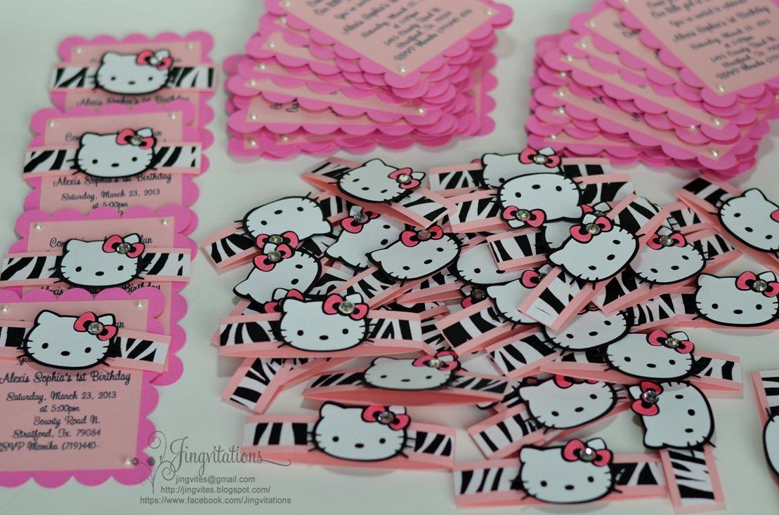 Hello Kitty Leopard Print Birthday Invitations