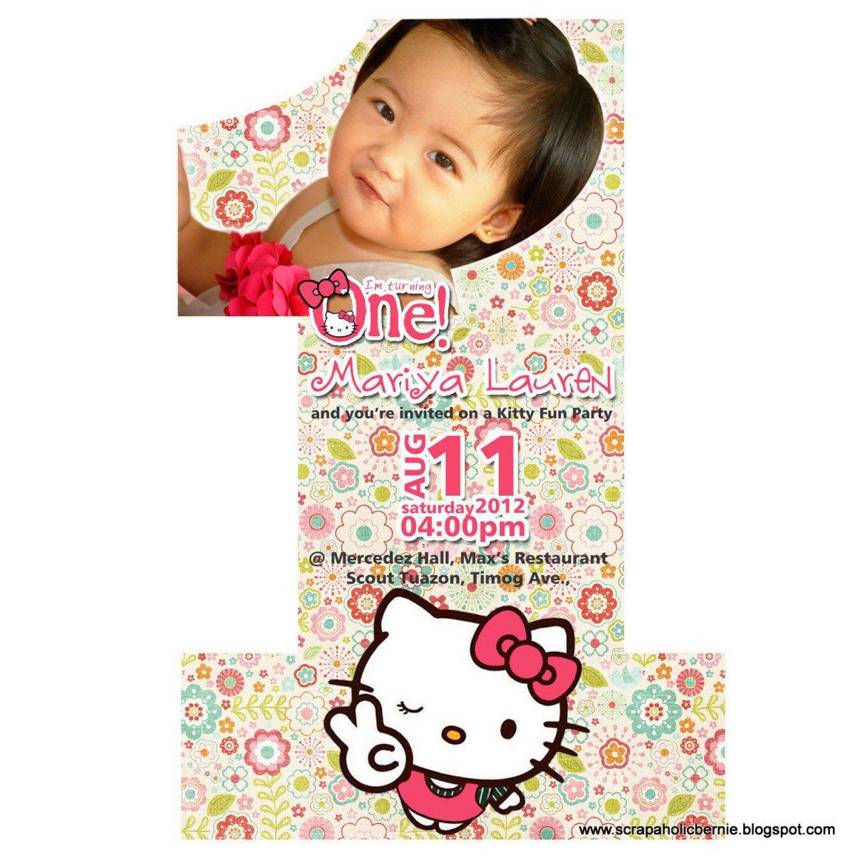 Hello Kitty Printable Invitation Template 2016