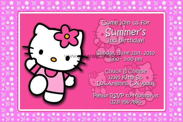 Hello Kitty Printable Invitations Birthday 2015