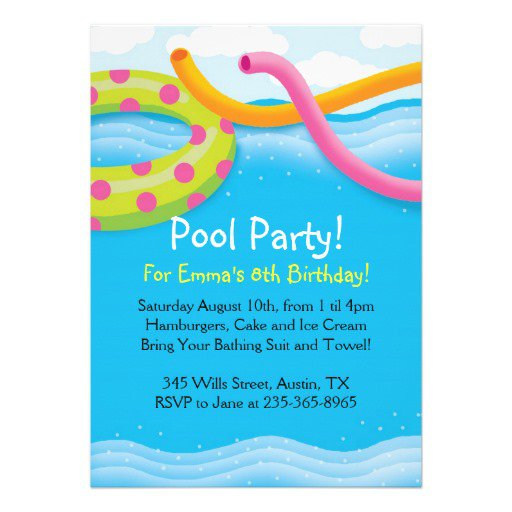 Kids Pool Party Invitation Free Template 2016