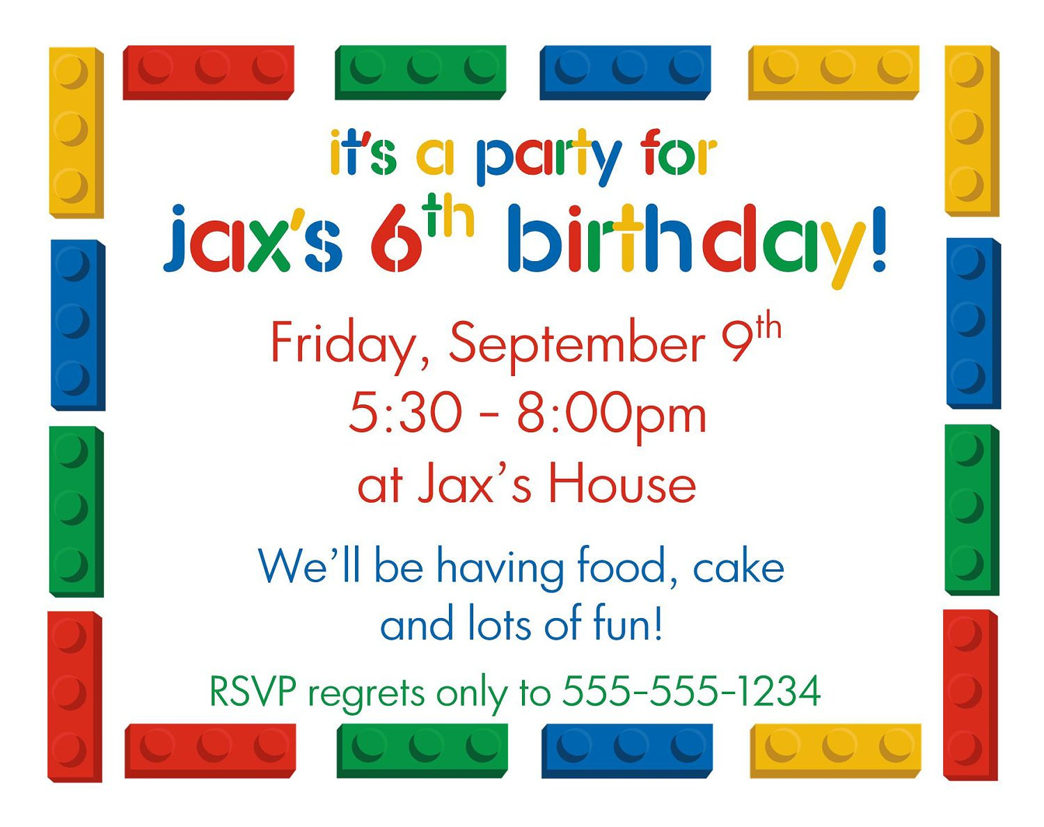 Lego Birthday Party Invitations Printable