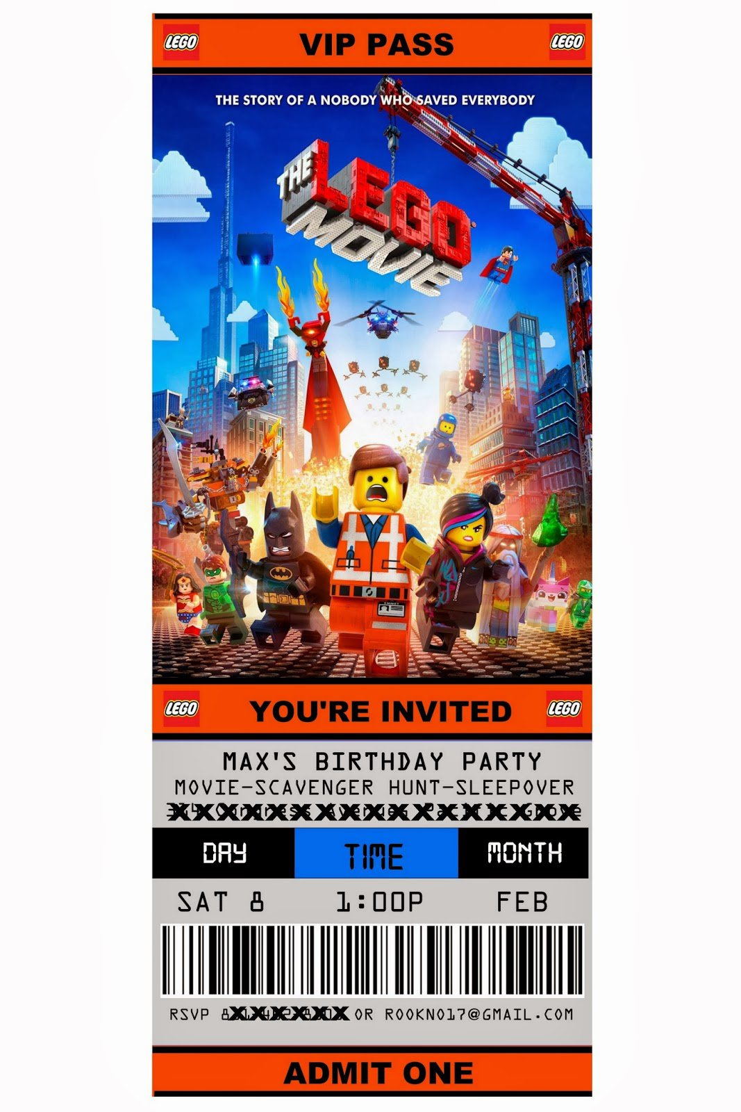 Lego Movie Party Invitations Free Printable