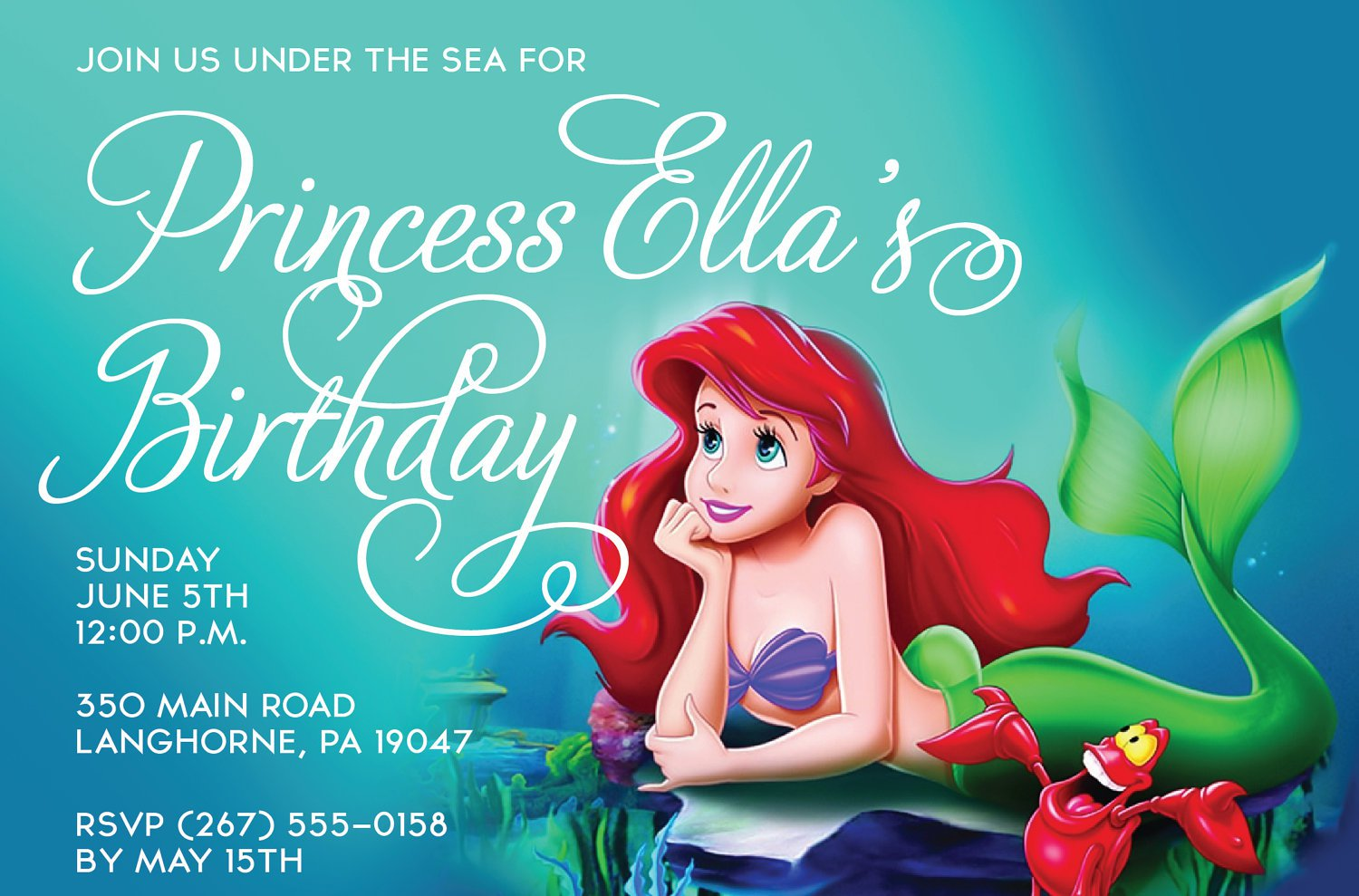 Little Mermaid Free Printable Birthday Invitations
