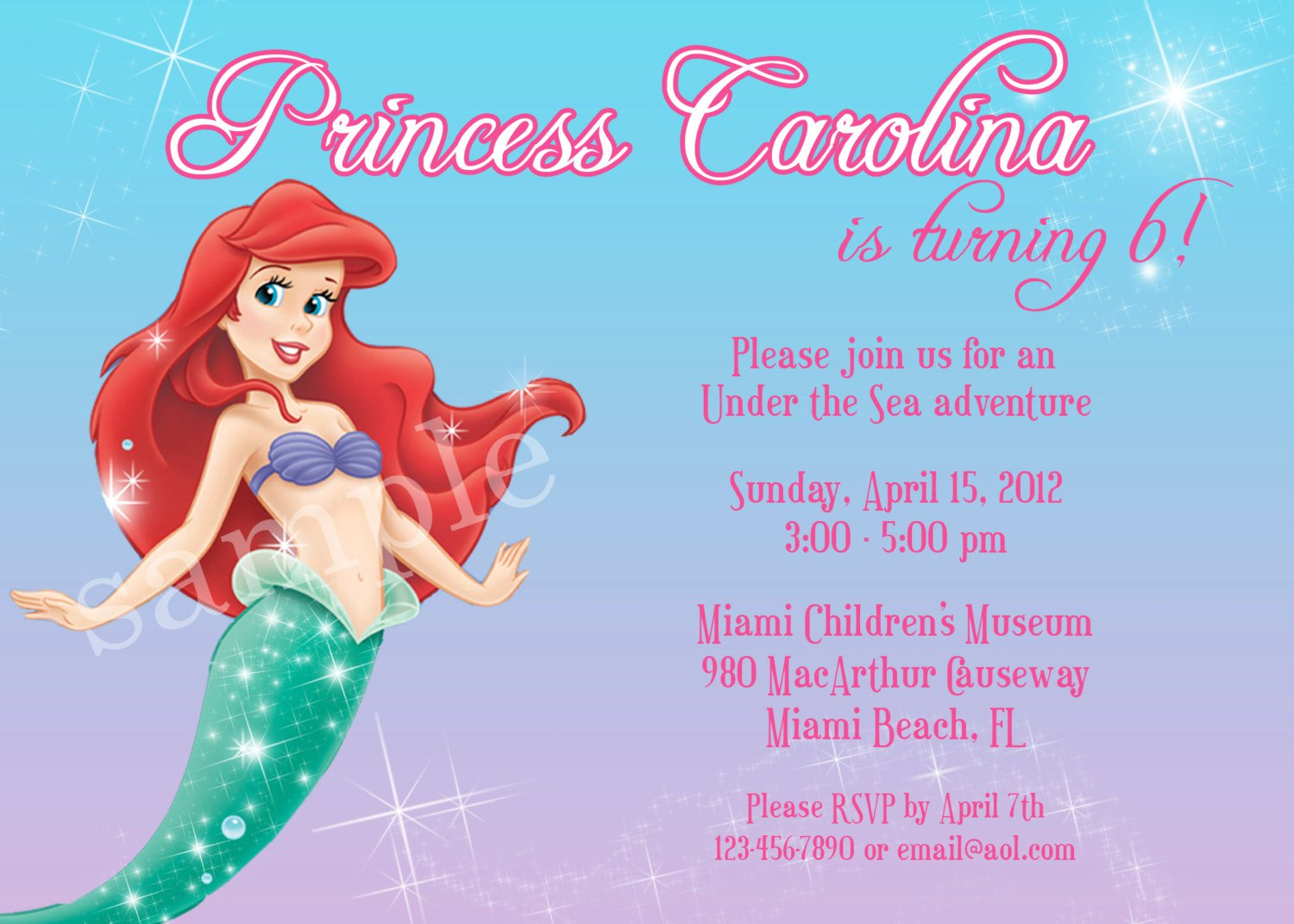 Little Mermaid Printable Birthday Invitations