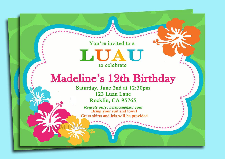 Luau Party Invitations Printable