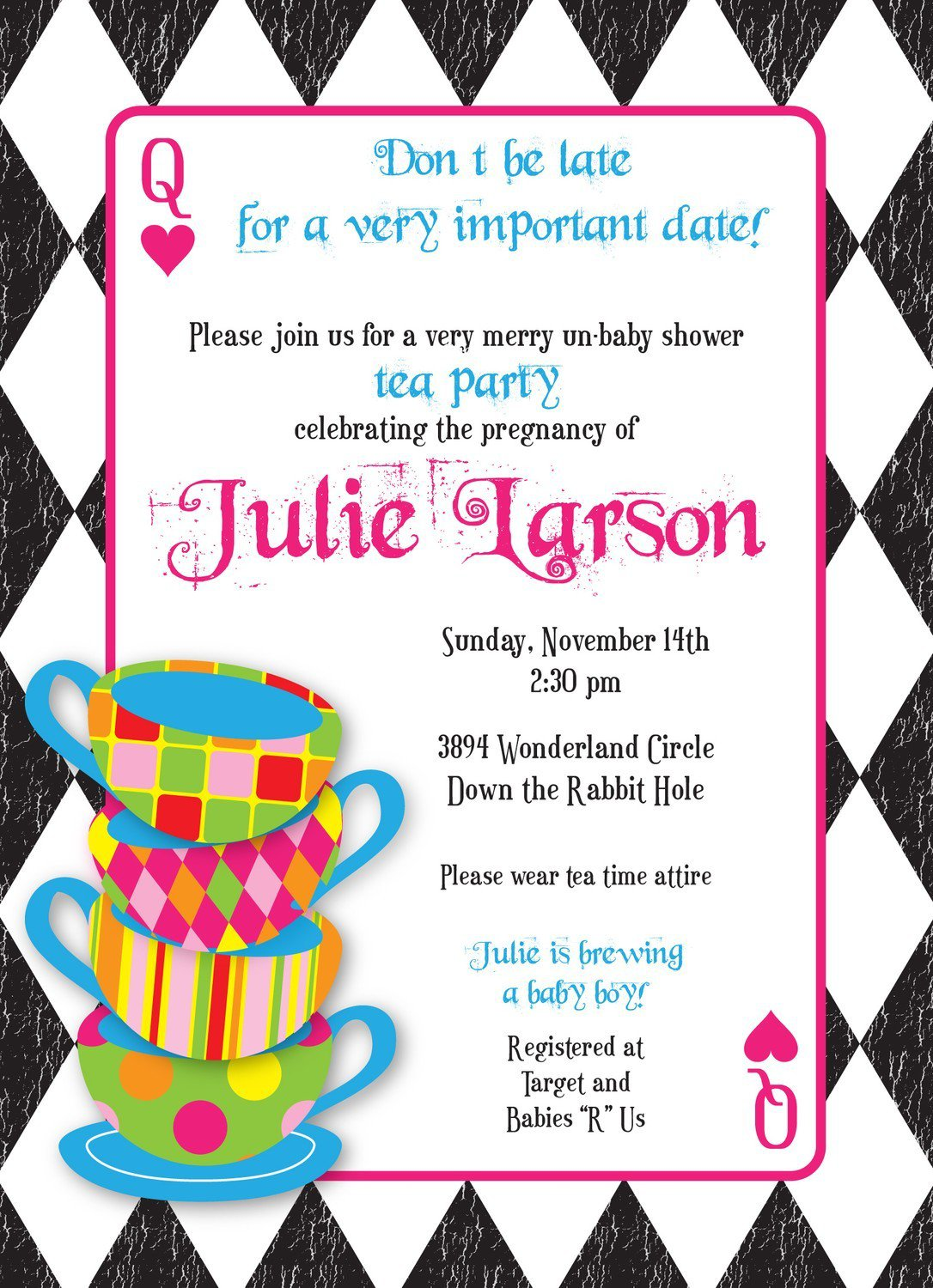 Mad Hatters Tea Party Invitations Printable
