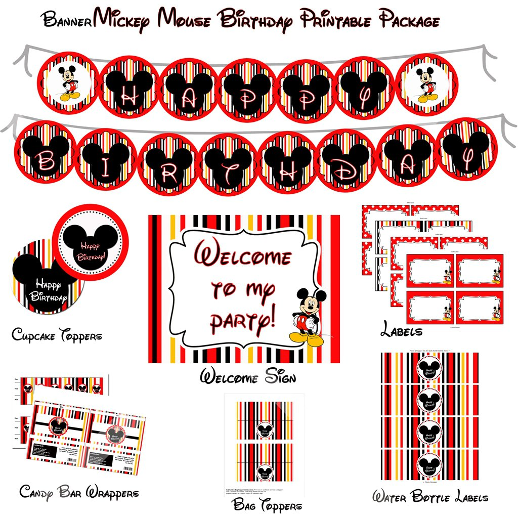 Mickey Mouse Birthday Party Templates