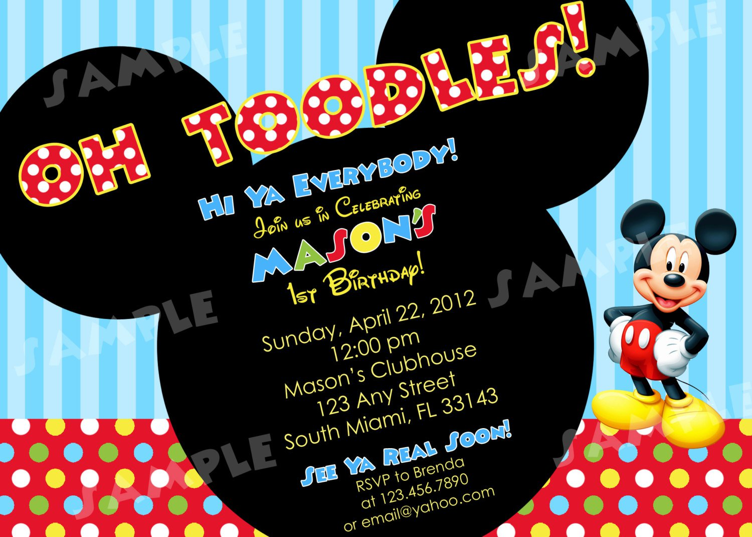 Mickey Mouse Clubhouse Printable Birthday Invitations