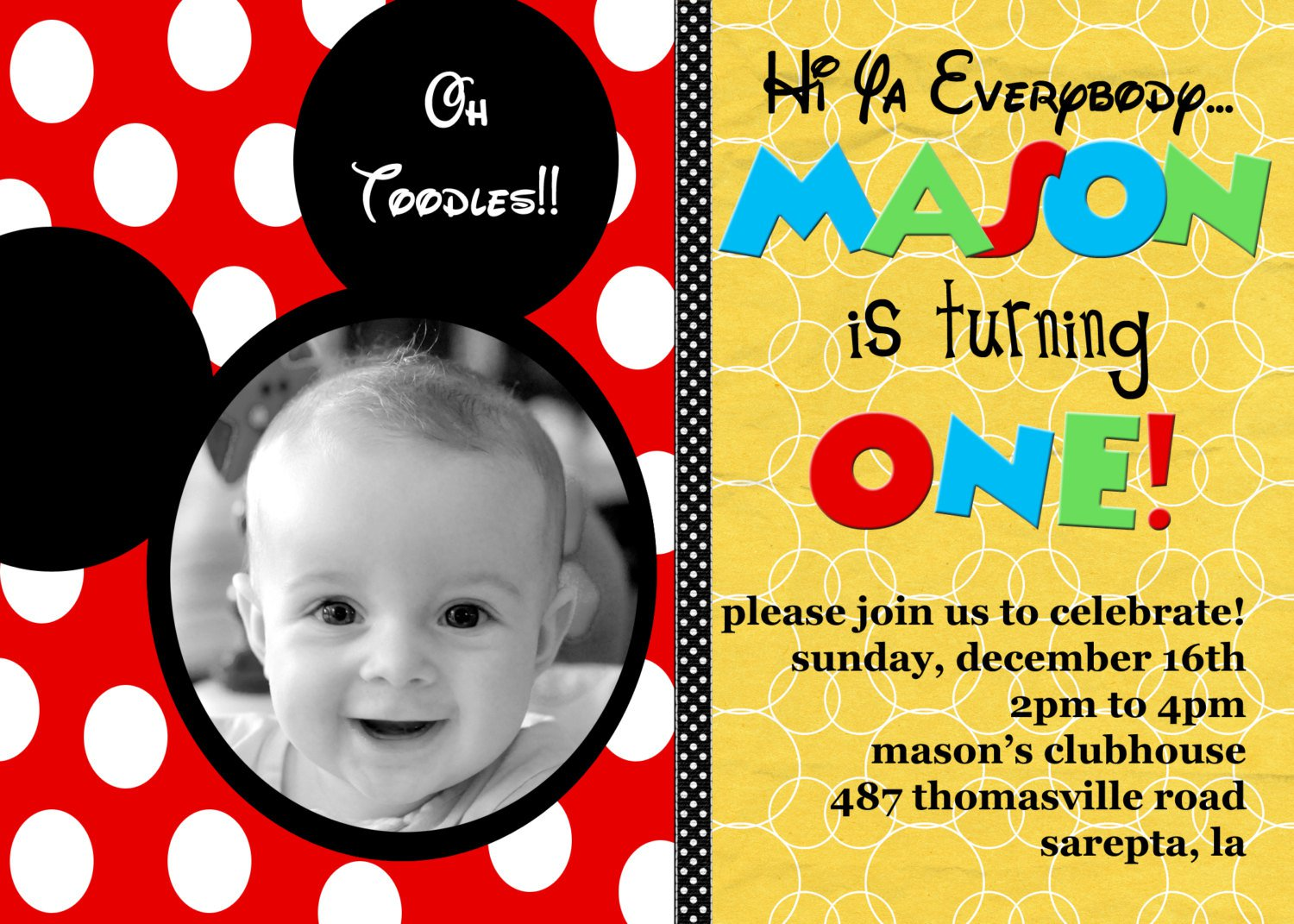 Mickey Mouse Printable Birthday Invitations