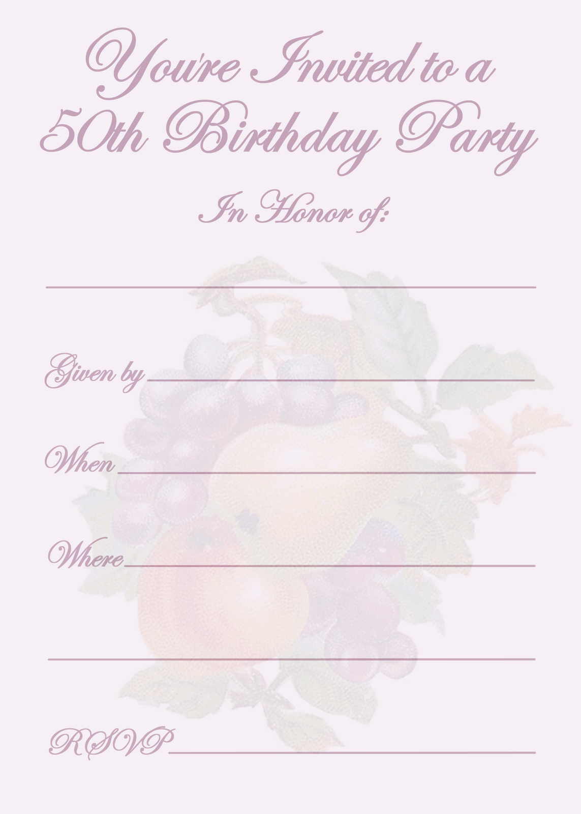 Online Printable 50th Birthday Invitations