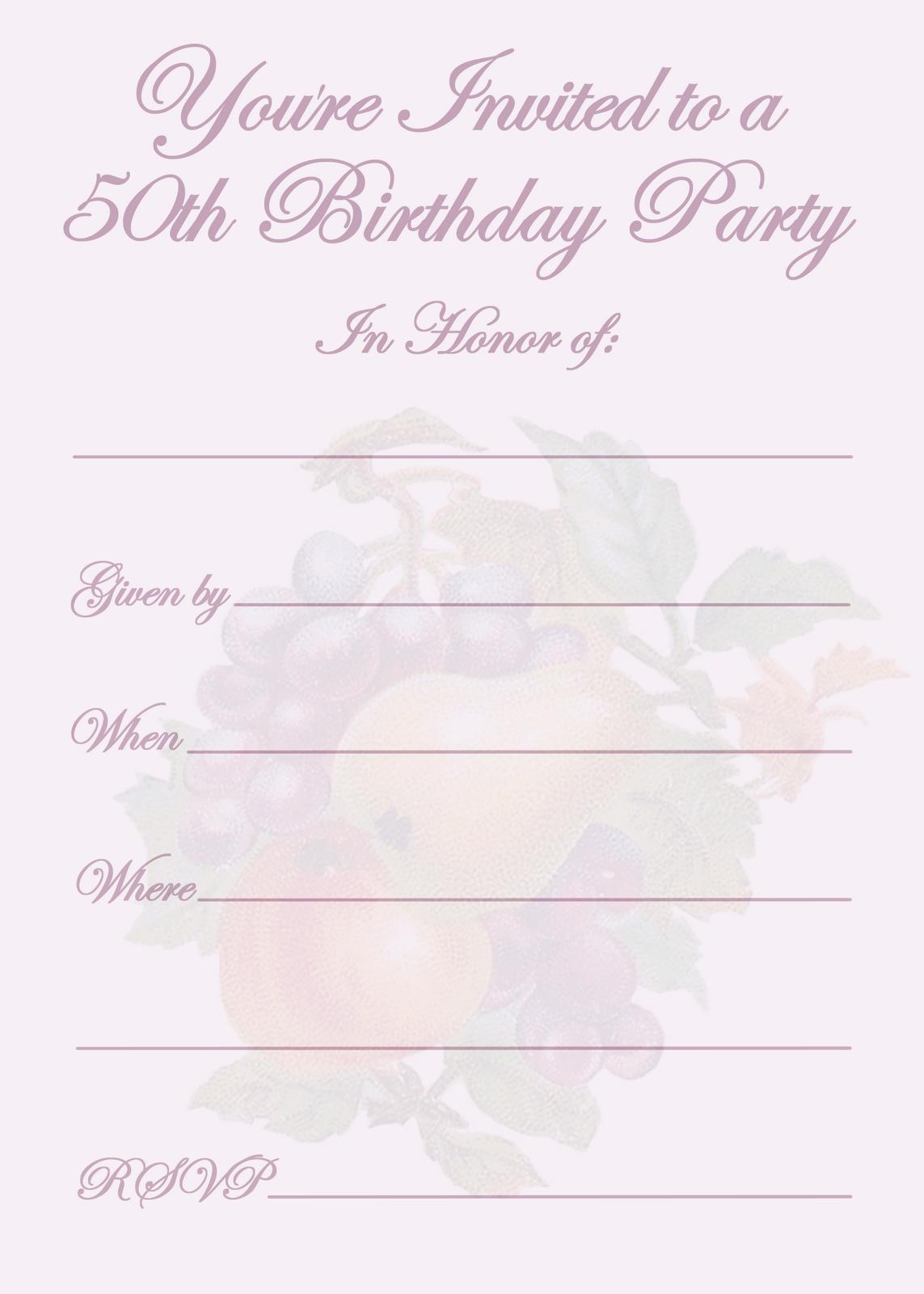 Online Printable 50th Birthday Invitations