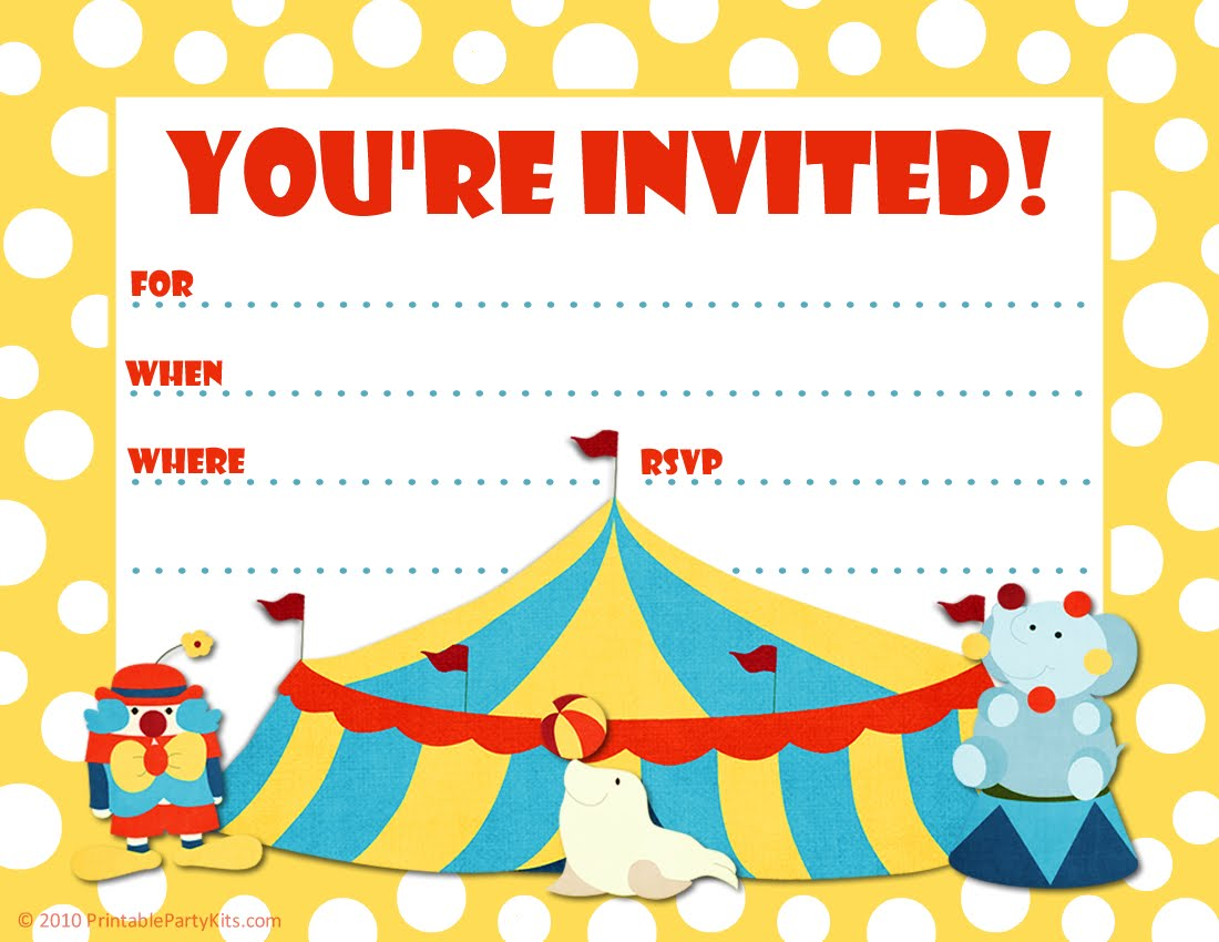 Party Invitations Free Printable For Kids 2017