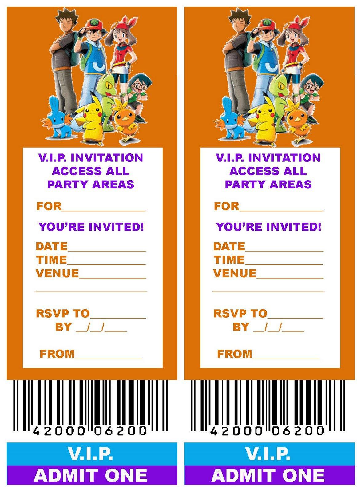 Pokemon Party Invitations Free Printable