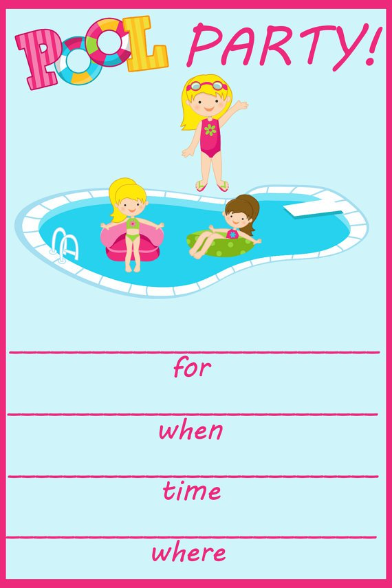 pool party birthday invitation templates free, Birthday invitations