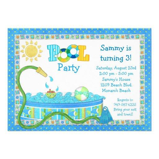 Pool Party Birthday Invitation Templates Free 2018