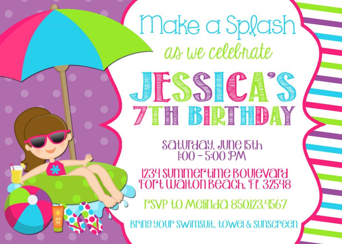 Pool Party Birthday Invitations Free