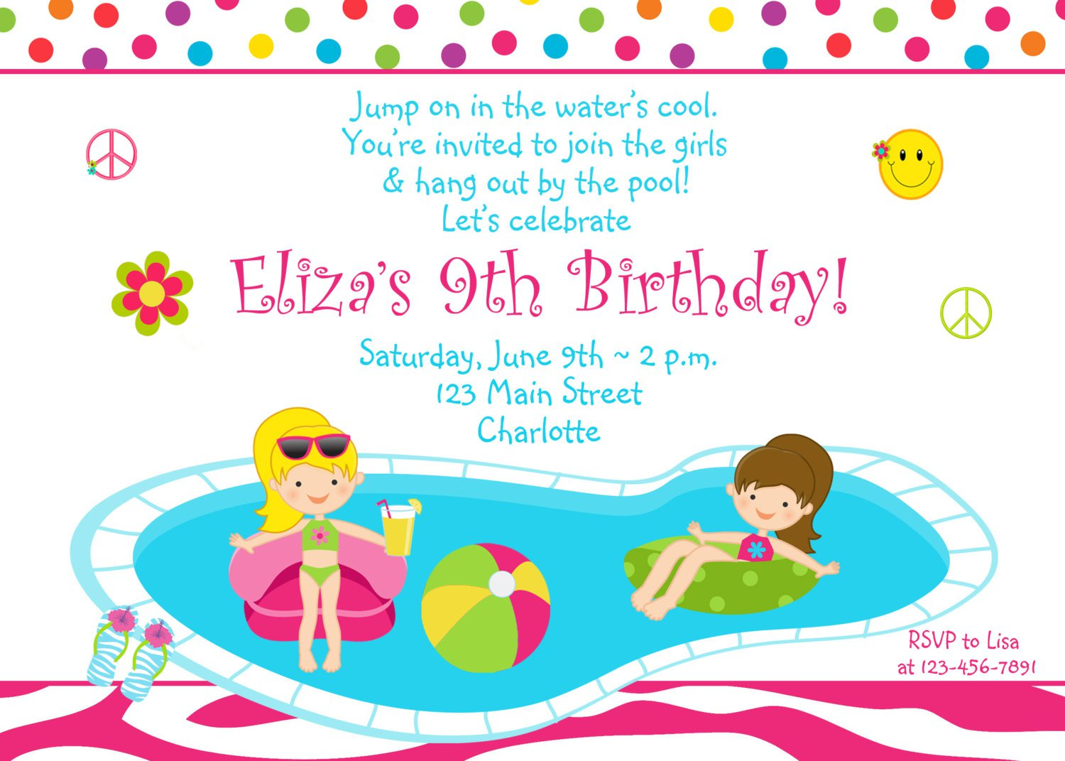 Pool Party Invitations Birthday