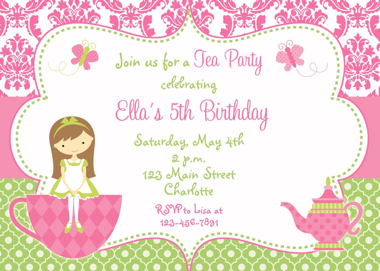Princess Tea Party Invitations Free