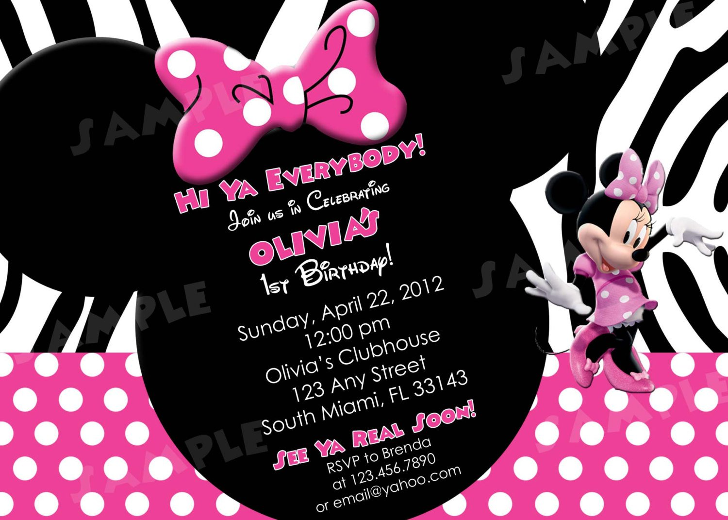 Print Minnie Mouse Birthday Invitations