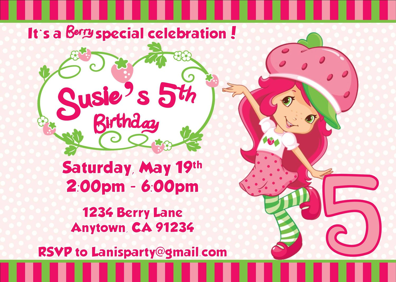 Print Strawberry Shortcake Invitations