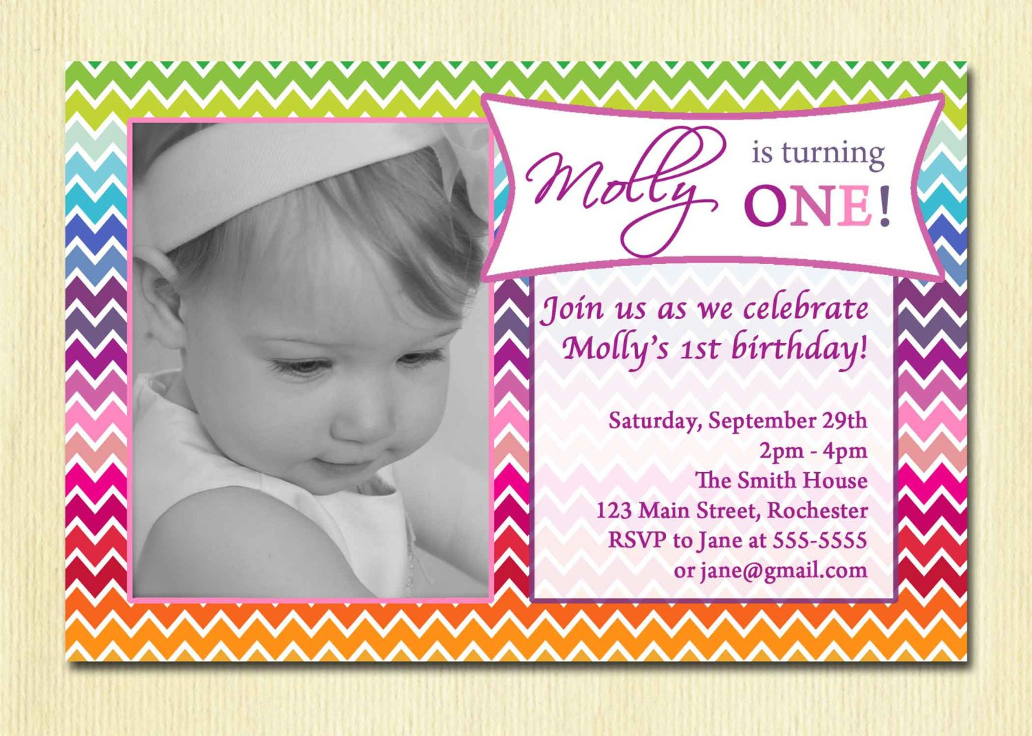 Printable 1st Birthday Party Invitations