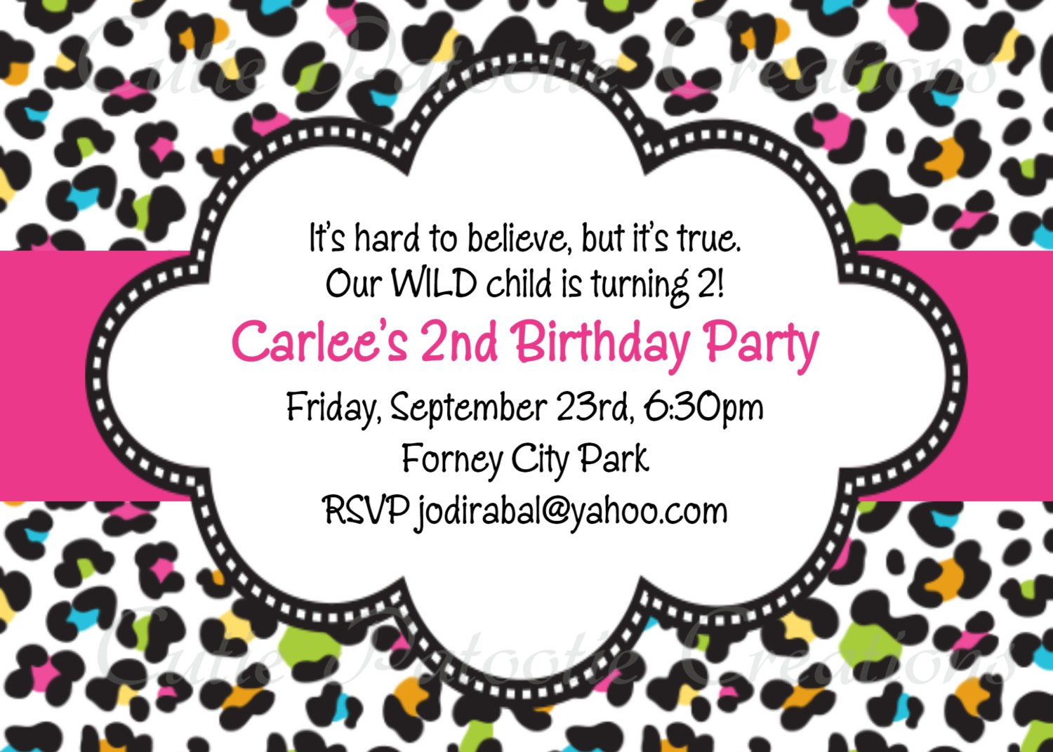 Printable Animal Print Birthday Invitations