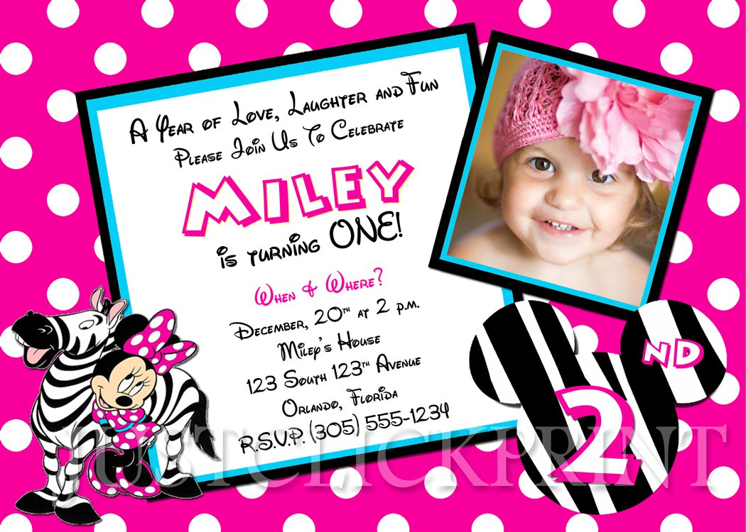 Printable Baby Minnie Mouse Birthday Invitations
