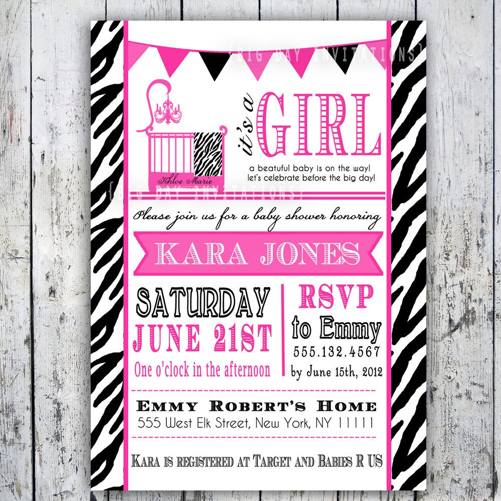 Printable Baby Shower Invitations Zebra Print