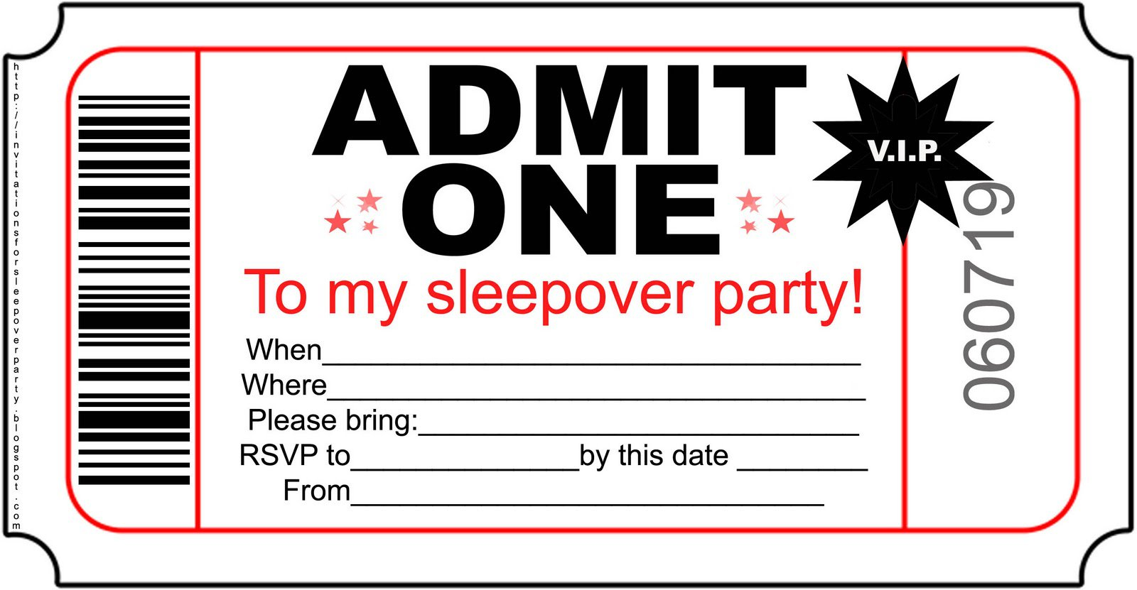 Printable Birthday Invitations For Sleepover