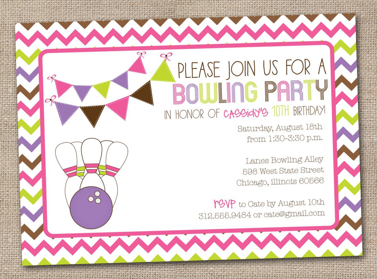 Printable Birthday Party Invitations Bowling