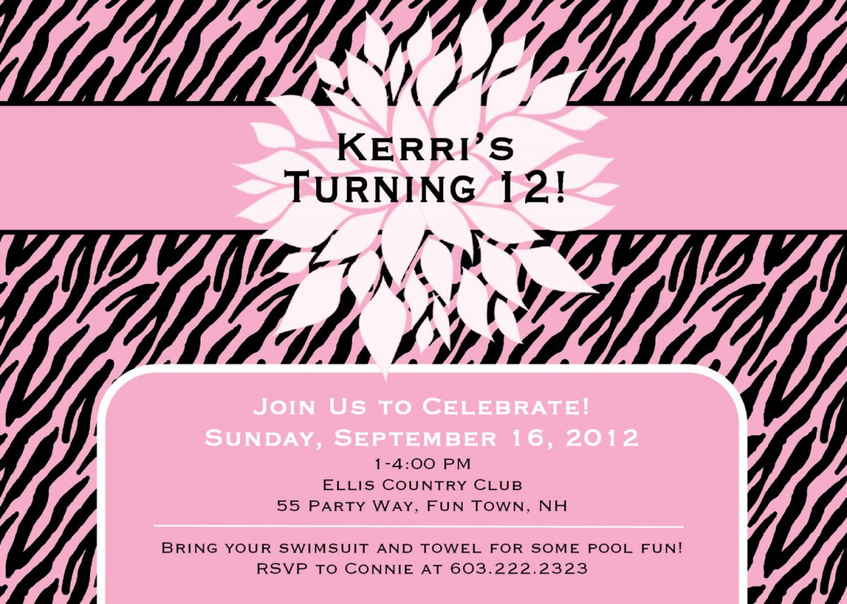 Printable Birthday Party Invitations For Teenagers