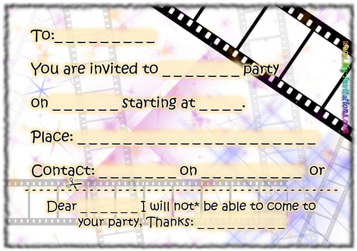 Printable Birthday Party Invitations Free 2015