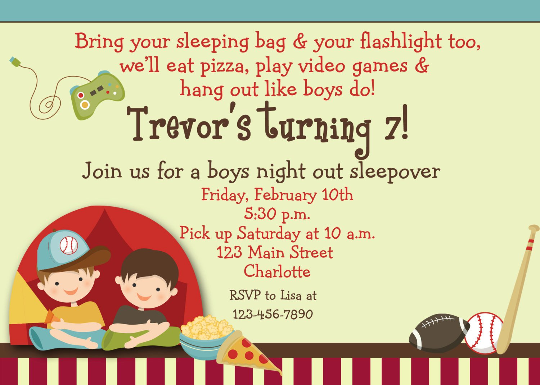 Printable Boy Slumber Party Invitations