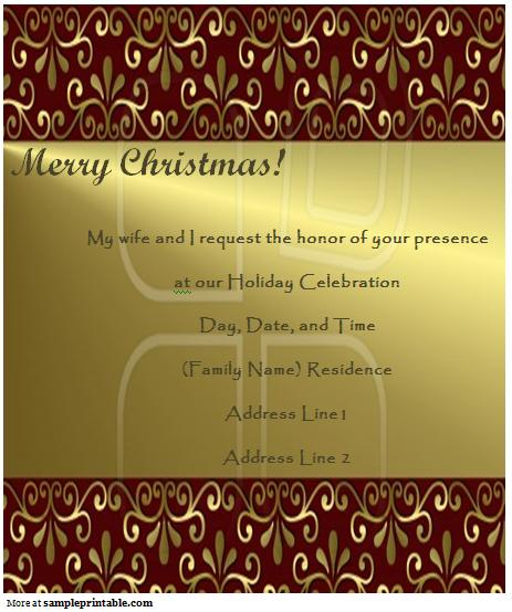 Printable Christmas Invitation Templates 2018