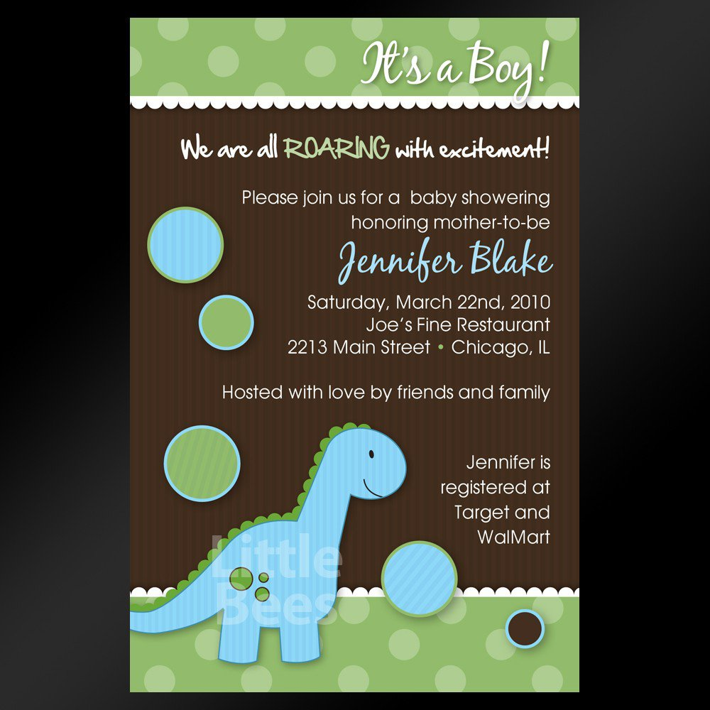 Printable Dinosaur Baby Shower Invitations