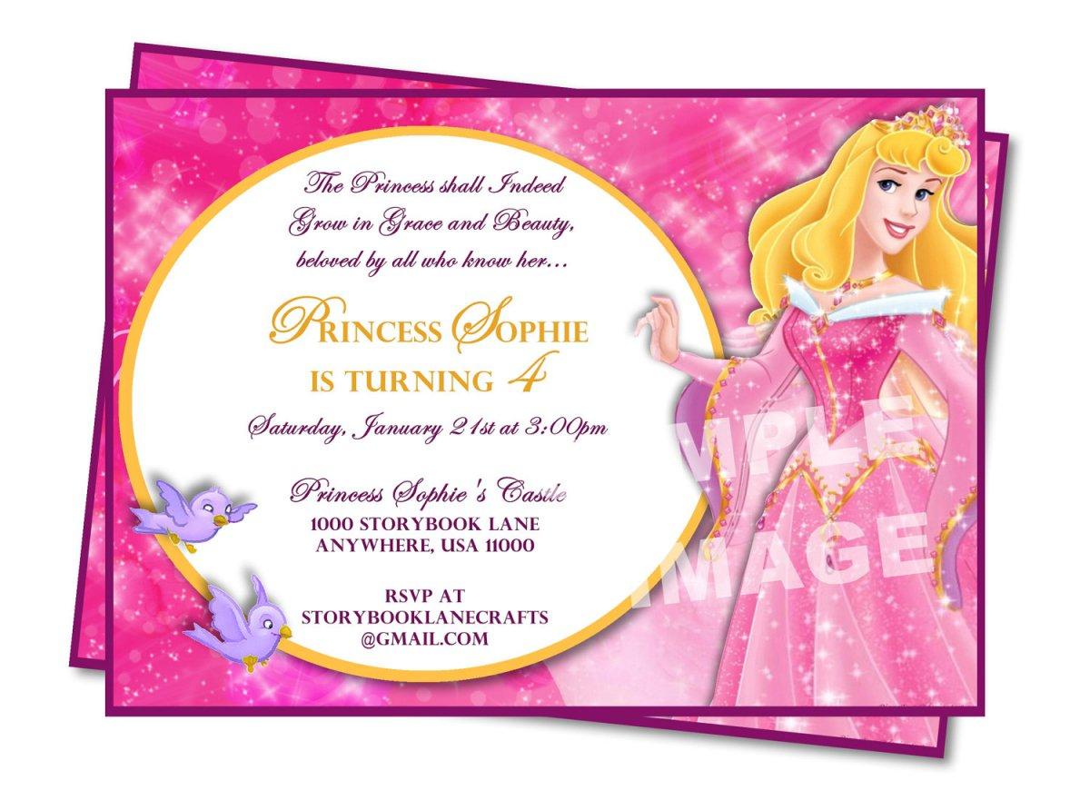Printable Disney Princess Birthday Party Invitations