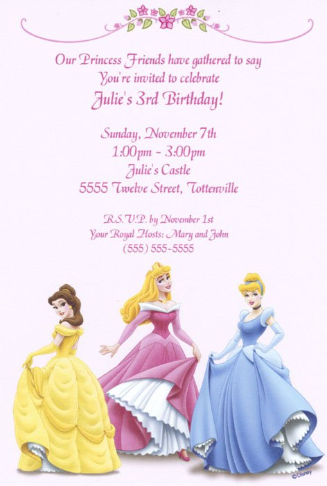Printable Disney Princess Invitations 2017