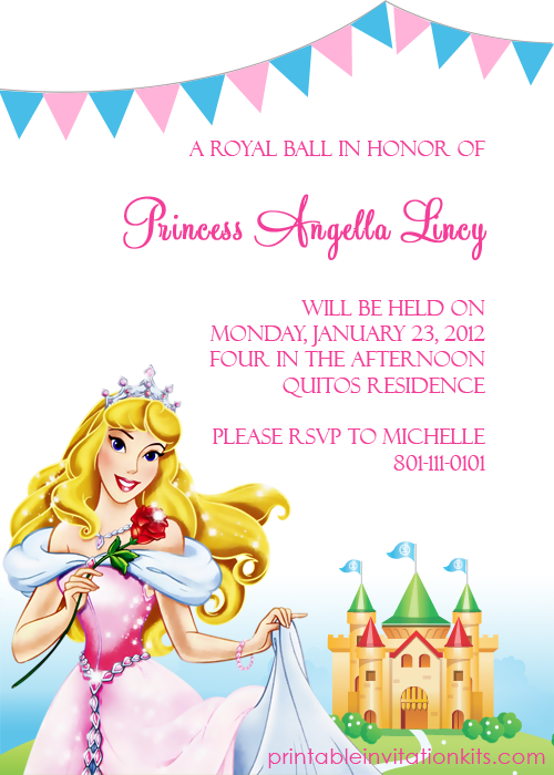 Printable Disney Princess Invitations