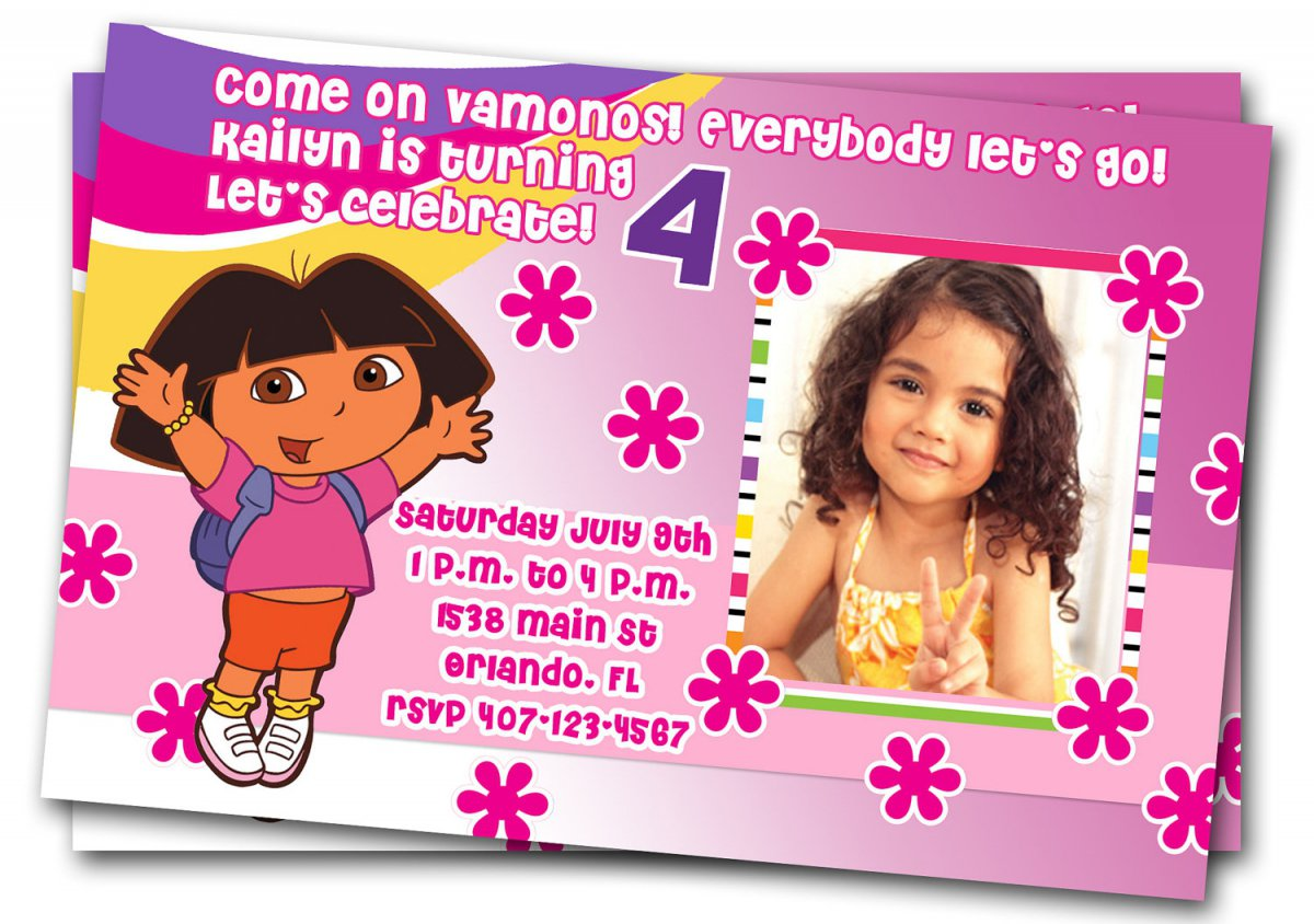 Printable Dora Birthday Invitations Cards