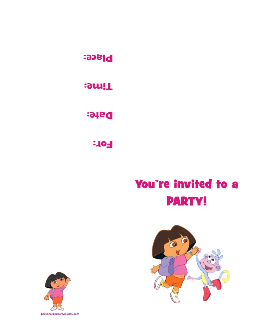 Printable Dora Invitations