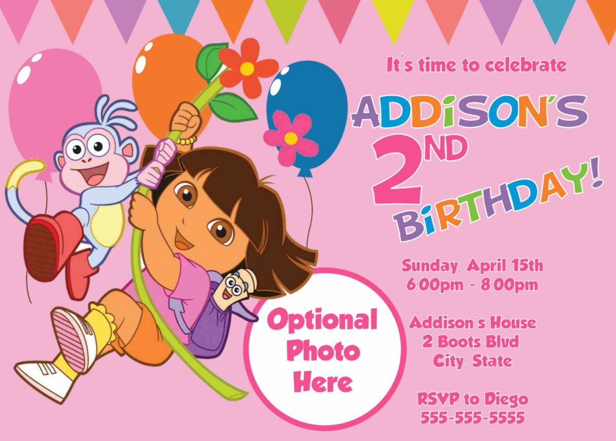 Printable Dora Invitations Cards