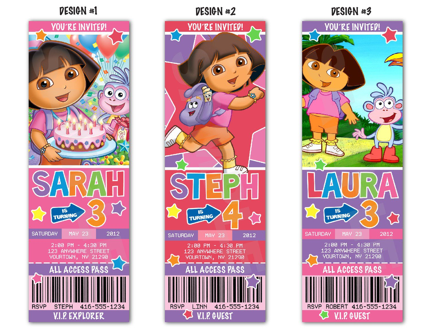 free printable dora the explorer birthday party invitations