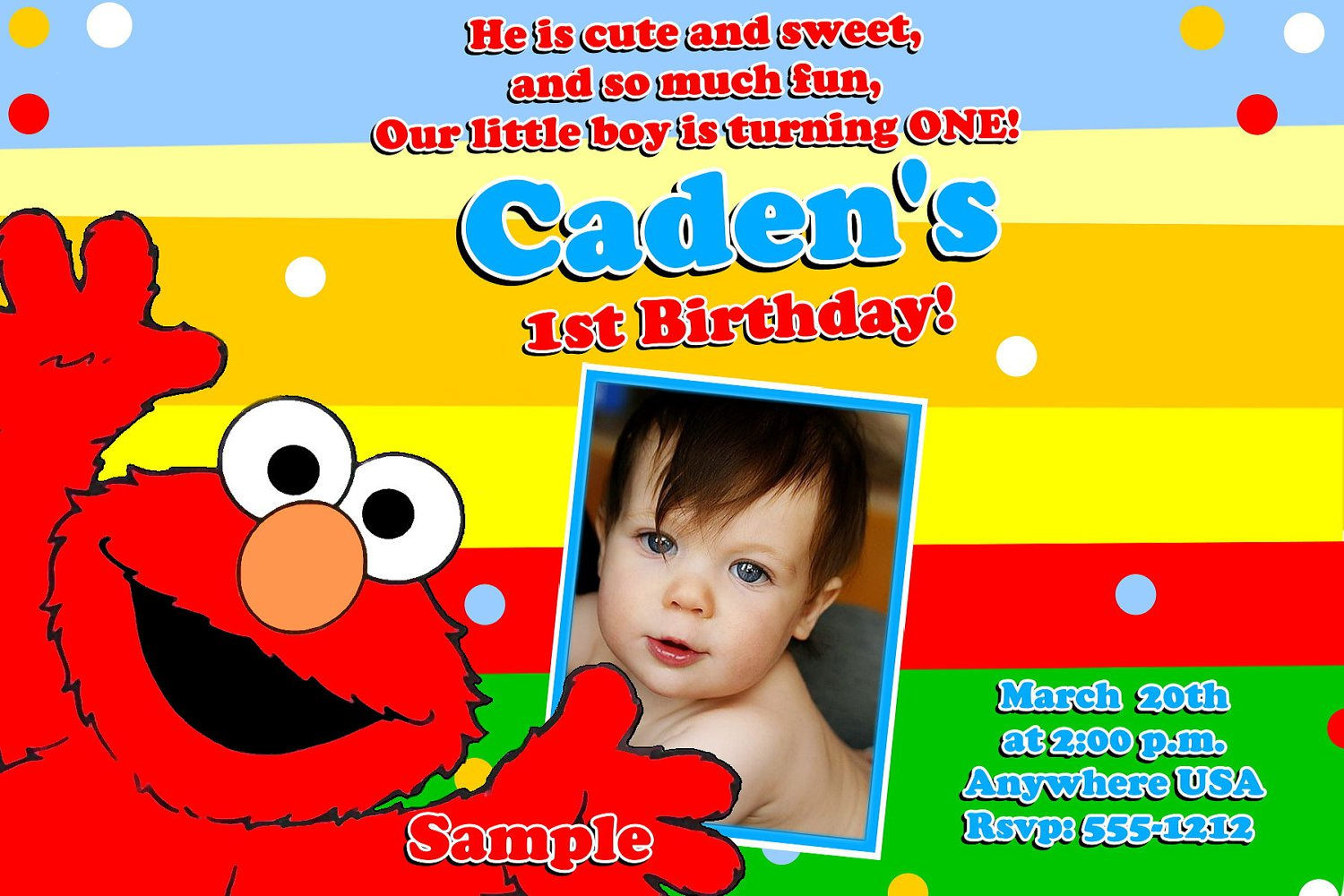 Printable Elmo 1st Birthday Invitations