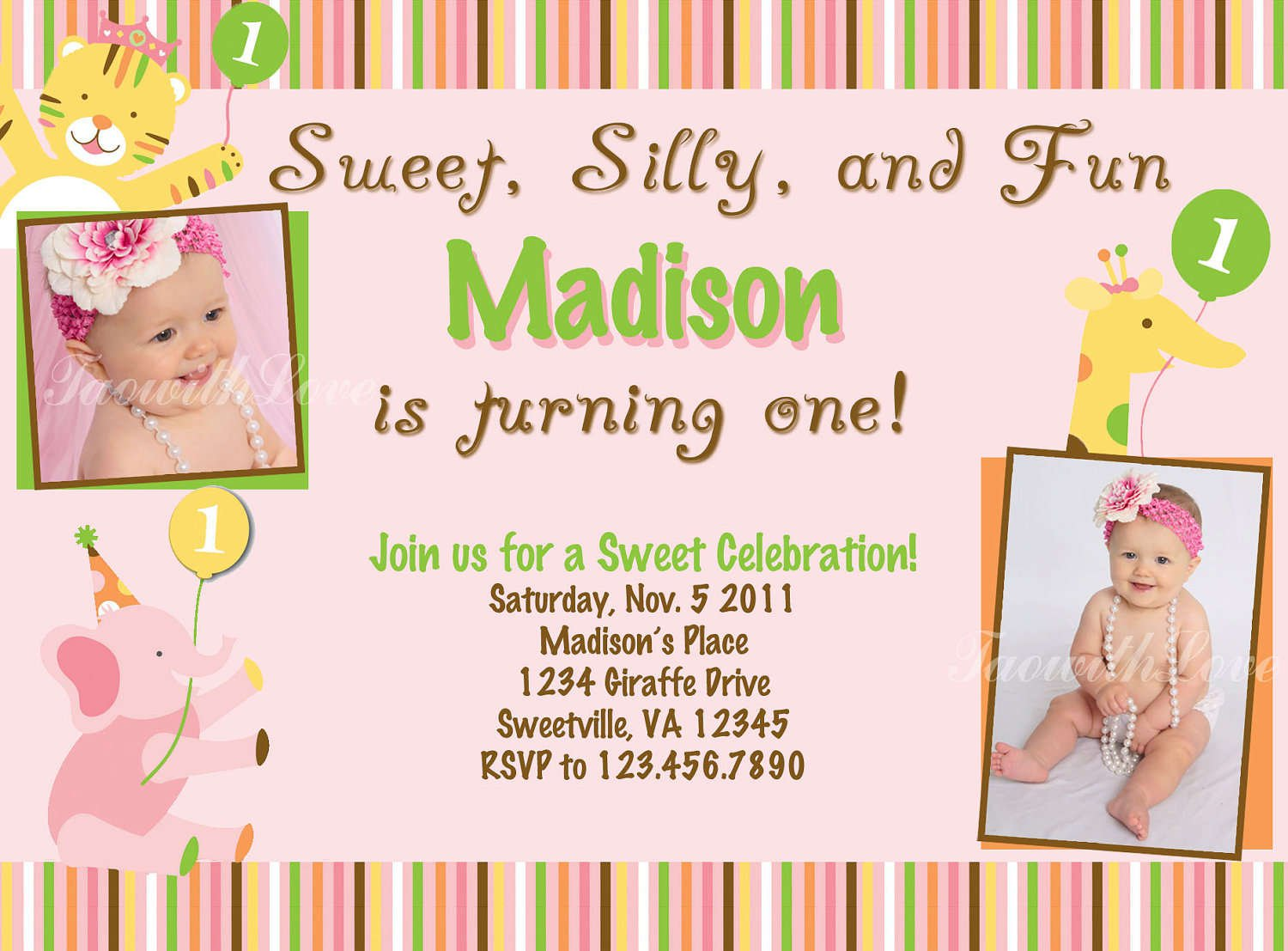 Printable First Birthday Invitation Templates