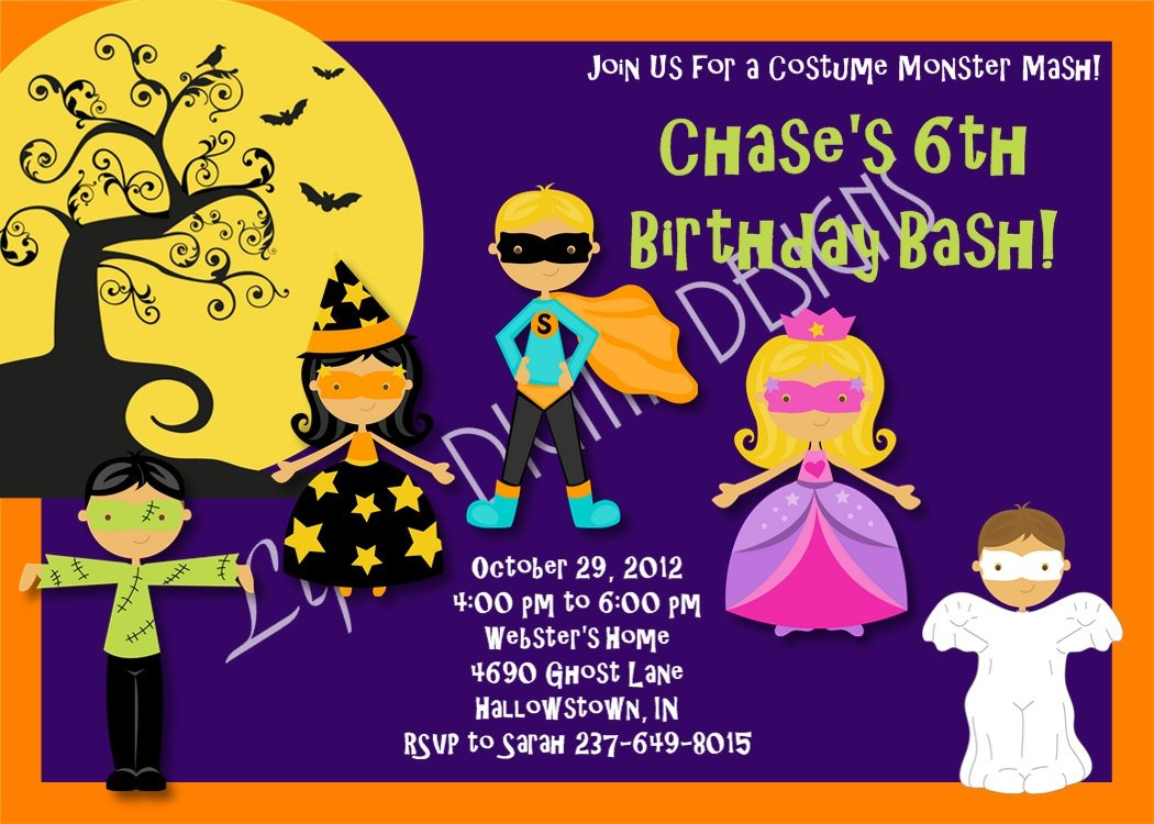 Printable Halloween Birthday Party Invitations
