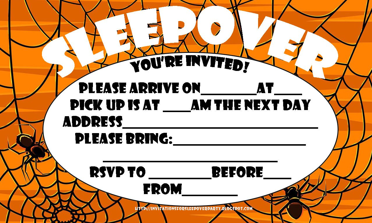 Printable Halloween Sleepover Invitations