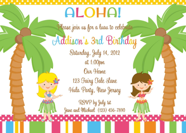 Printable Hawaiian Birthday Invitations For Kids