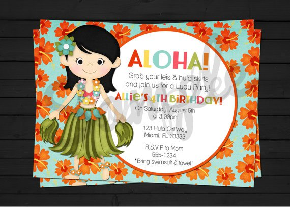 Printable Hawaiian Luau Party Invitations 2015