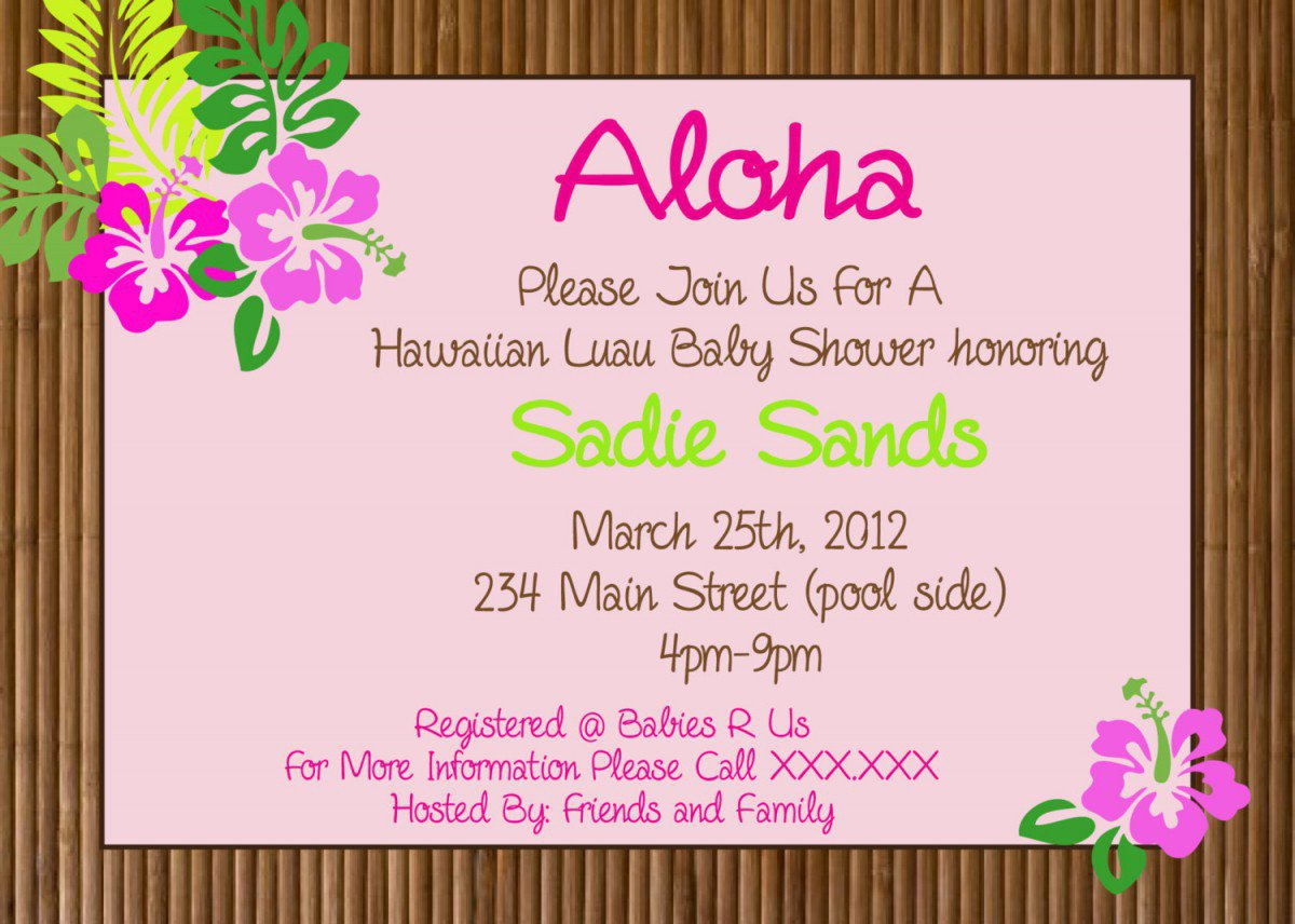 Printable Hawaiian Luau Party Invitations 2018