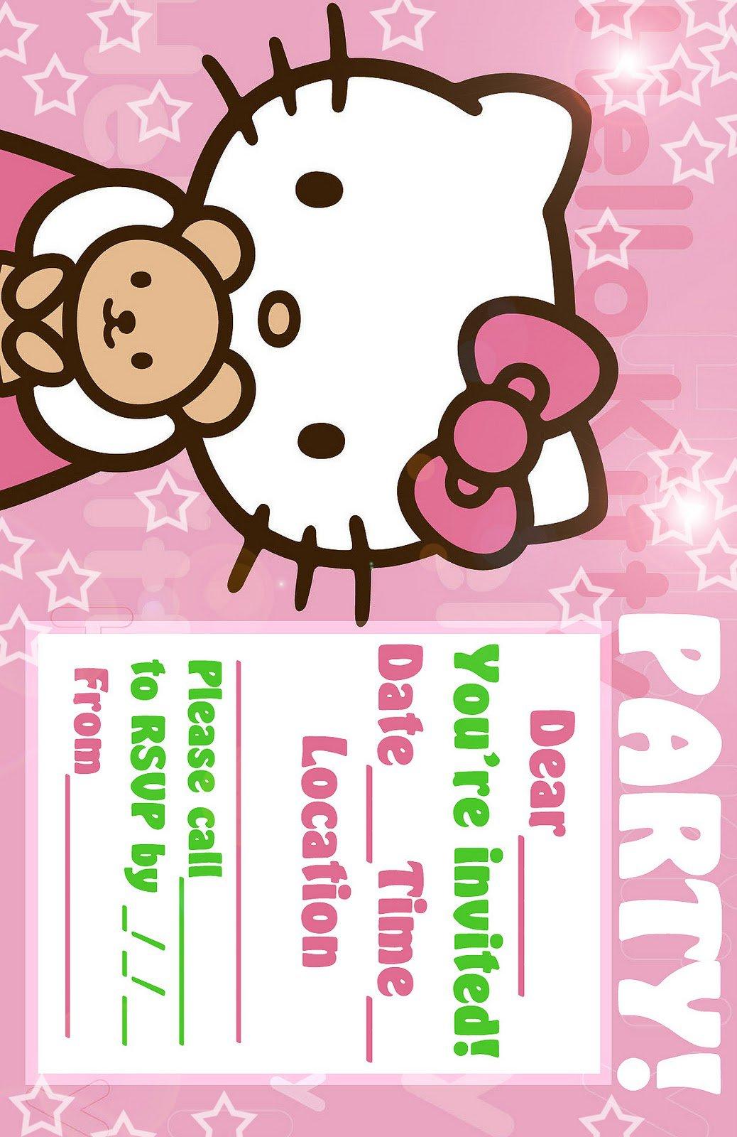 printable hello kitty birthday invitation cards